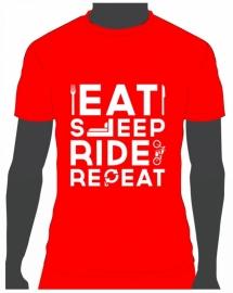 T-shirt Eat Sleep Ride Repeat Rood