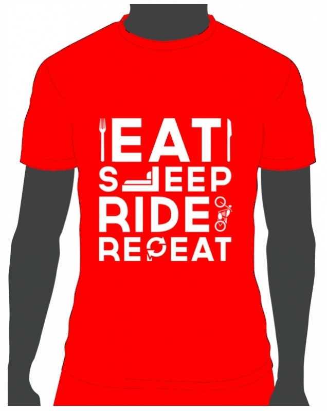 T-shirt Eat Sleep Ride Repeat Rood