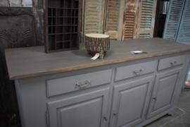 Robuuste dressoir kast landelijk grijs