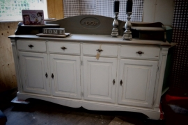Dressoir/ keukenkast sierlijke onderkant grijs / wit