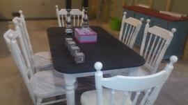 Eettafel met 6 stoelen brocante style