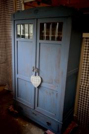 Prachtige old blue linnenkast