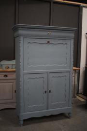 Antique blue sercretaire kast
