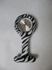 Horloge met siliconen hanger en speld - zebra motief