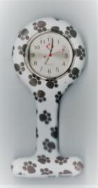 Horloge met siliconen hanger en speld - zwart wit pootafdruk