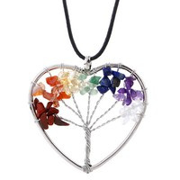 Chakra Rainbow Tree of Life Heart pendant.