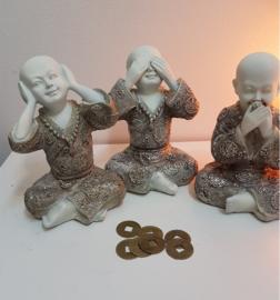 Shaolin Horen,Zien en Zwijgen. wit/zilver