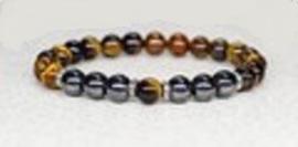 Tijgeroog - Hematiet armband