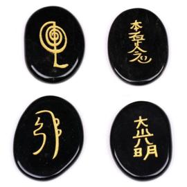 Reiki symbolenset Zwarte Obsidaan.