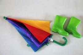 Groene regenlaarzen maat 21 en paraplu met naam