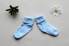 Licht blauwe baby sokken met naam 62/68