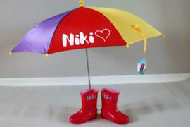 Paraplu en regenlaarzen met naam