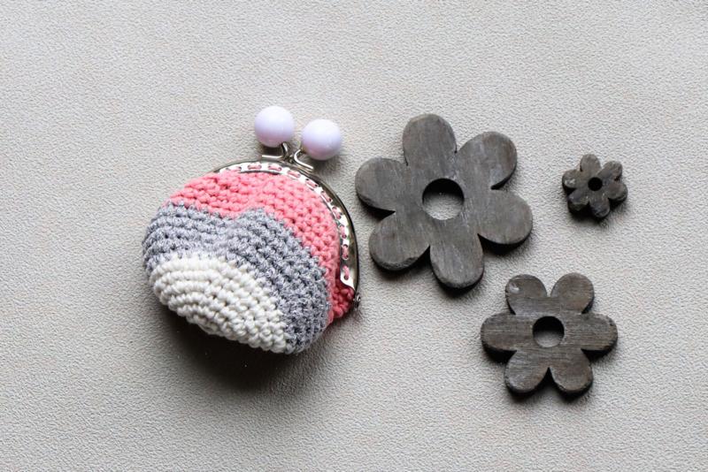 Portemonnee met naam roze zilver wit