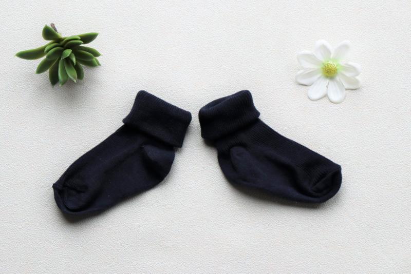 Donker blauwe baby sokken met naam 62/68