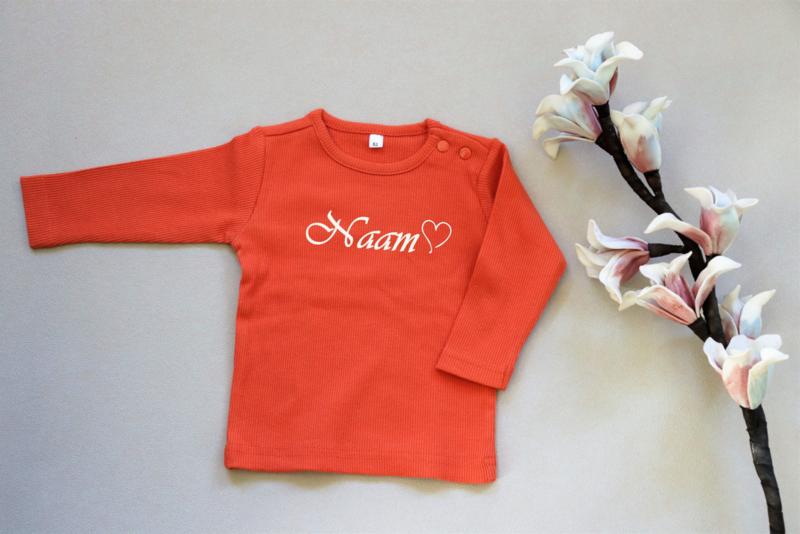 Baby shirt oranje met tekst maat 62