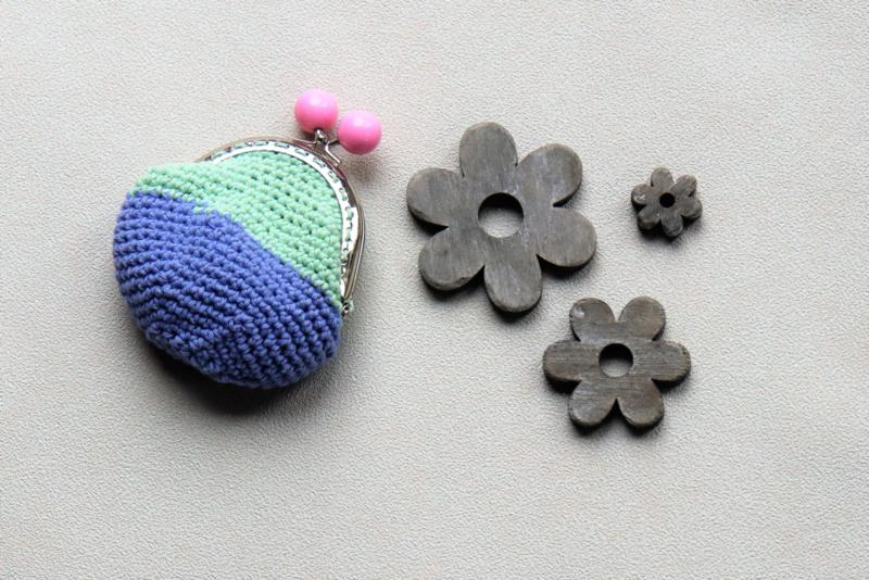 Portemonnee met naam paars zeeblauw