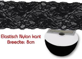Elastisch nylon kant 8cm breed