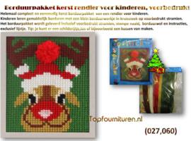 Borduurpakket kerst rendier voor kinderen.