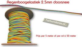 Regenboogelastiek rond 2.5mm per 5 meter
