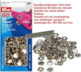 Drukknopen Jersey Prym 390104 10mm zilver navulverpakking