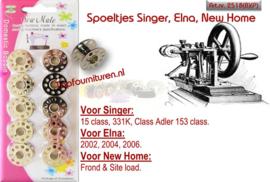 Spoeltjes metaal: Singer, Elna, New Home