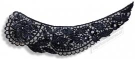 Applicatie hals/voor kraag kant zwart 25 x 6,5 cm