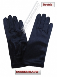 Handschoenen stretch satijn. Kleur navy & donker navy
