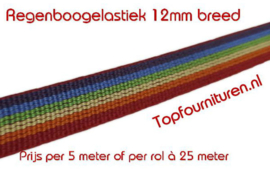 Regenboogelastiek 12mm breed per 5 meter
