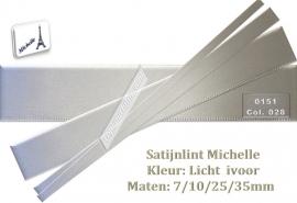 Satijnlint Michelle kleur licht ivoor 4 maten