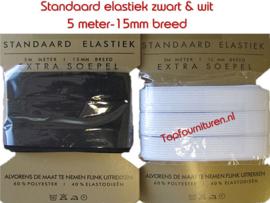 15mm breed extra soepel elastiek zwart