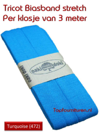 Tricot Biasband Jersey donker turquoise