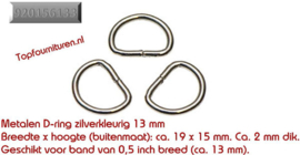 D-ringen diverse maten en kleuren