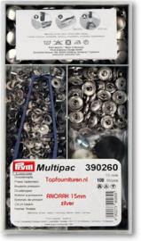 Multpac Anorak 15mm zilveren drukknopen Prym 390260