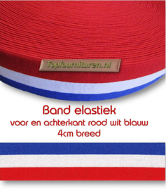 Elastiek rood wit blauw 4cm breed-per meter of per rol