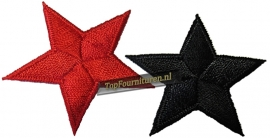 Sterren 5cm doorsnee in rood en zwart