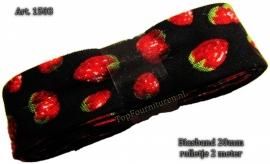 Biaisband zwart met aardbeien art. 1503