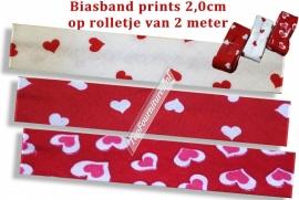 Biaisband prints hartjes 2,0cm op rol van 2 meter