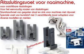 Ritssluitingsvoet voor naaimachine