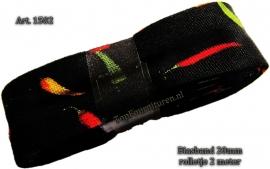 Biaisband zwart met diverse gekleurde pepers art. 1502