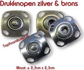 Drukknopen luxe uitvoering zilver & brons. Prijs per paar