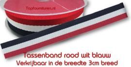 Tassenband rood-wit-blauw 3cm breed