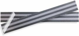 Elastiek gestreept hoofdkleur grijs 2,5cm breed