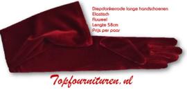 Donkerrode handschoenen 48cm fluweel