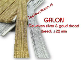 Galon geweven goud of zilverdraad 22mm