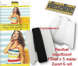 Flexibel naadband 15mm wit & zwart Vlieseline