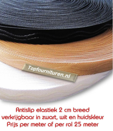 Antislip siliconenelastiek zwart wit en huidskleur 2cm breed