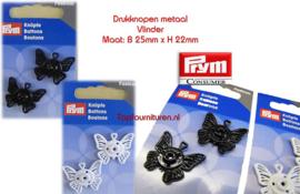 Drukknoop vlinder zwart & wit Prym 341940/941