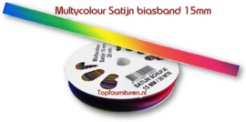 Biaisband multycolour satijn 15mm.