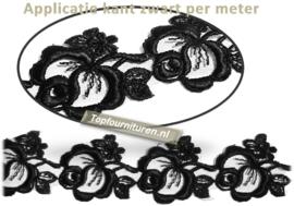Kant band bloemen zwart per meter