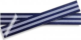 Elastiek gestreept hoofdkleur blauw 2,5cm breed